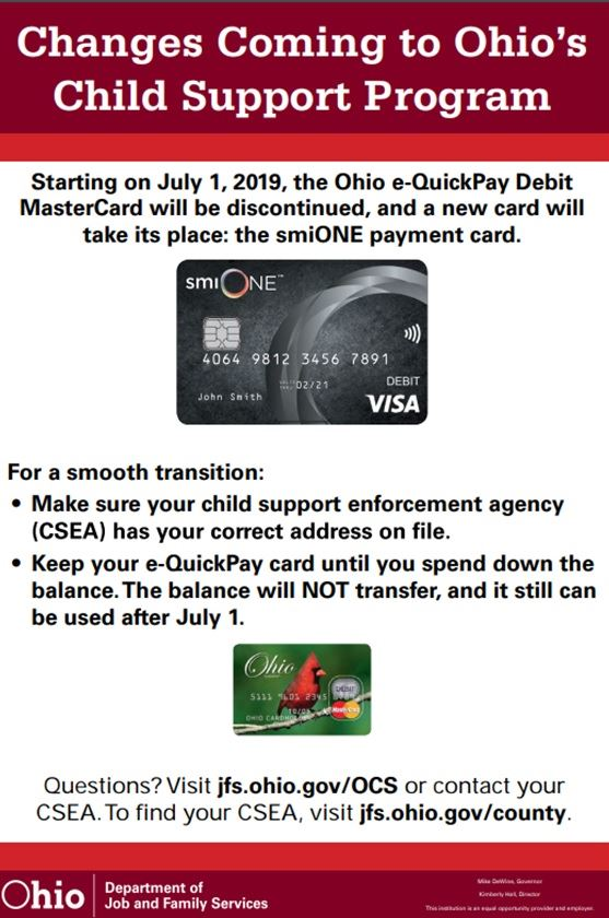 Changes to e-Quick Pay Card